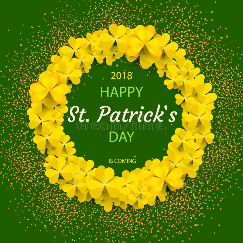 Ram för runda för dag för St Patrick ` s med gula trädbladväxter av släktet Trifolium som isoleras på grön bakgrund också vektor  royaltyfri illustrationer