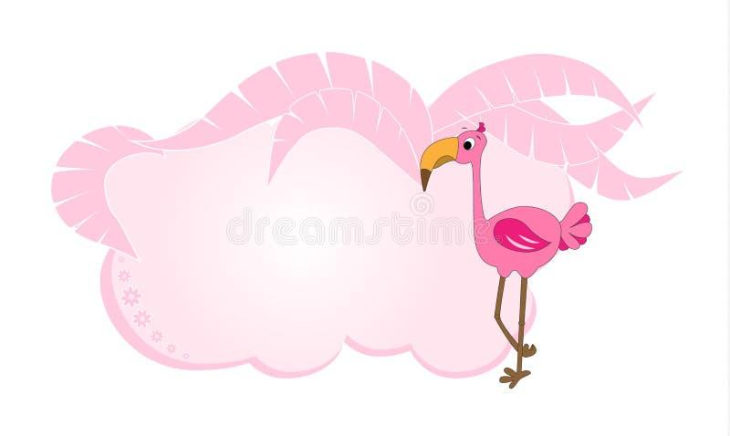 Ram för text med flamingo Infobox med ett tecknad filmtecken Flamingo i ett kvarter för text Tropisk ram för banret, text med vektor illustrationer