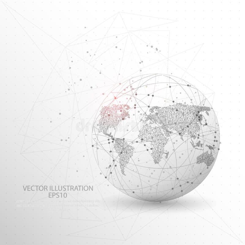 Ram för tråd för jordklotvärldskartaform digitalt dragen låg poly vektor illustrationer