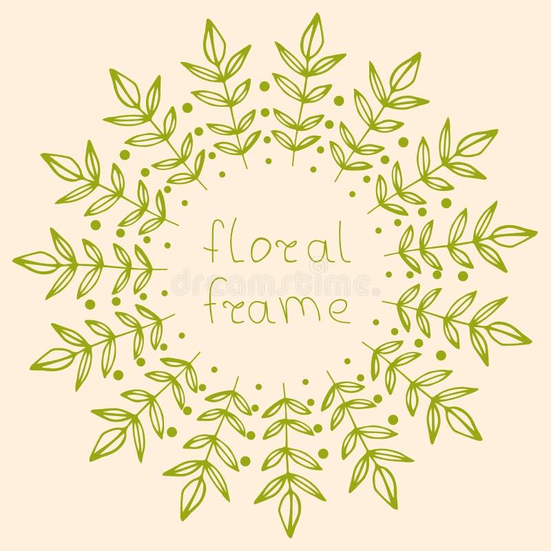 Ram för utdragen runda för hand blom- med isolerade filialer, sidor och prickar stock illustrationer