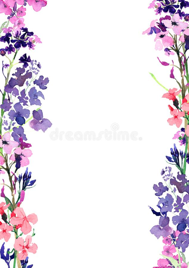Ram för utdragen vattenfärg för hand vertikal med blåa för äng små och rosa blommor och örter på vit bakgrund Design för royaltyfri illustrationer