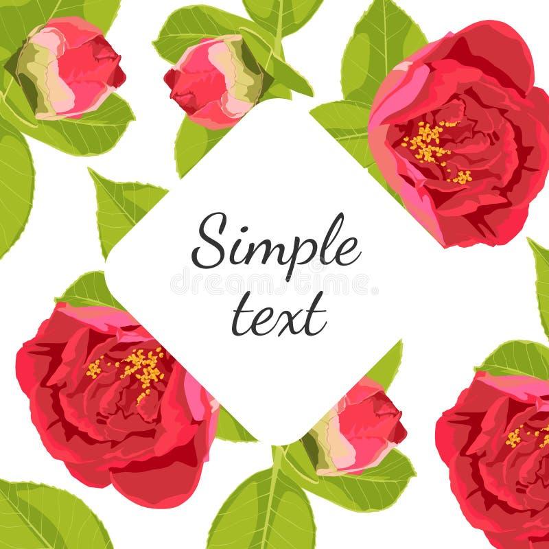 Ram för vårsommarblommor - blom- bakgrund - modell för design, tryck, textil, urklippsbok - i vektor royaltyfri illustrationer