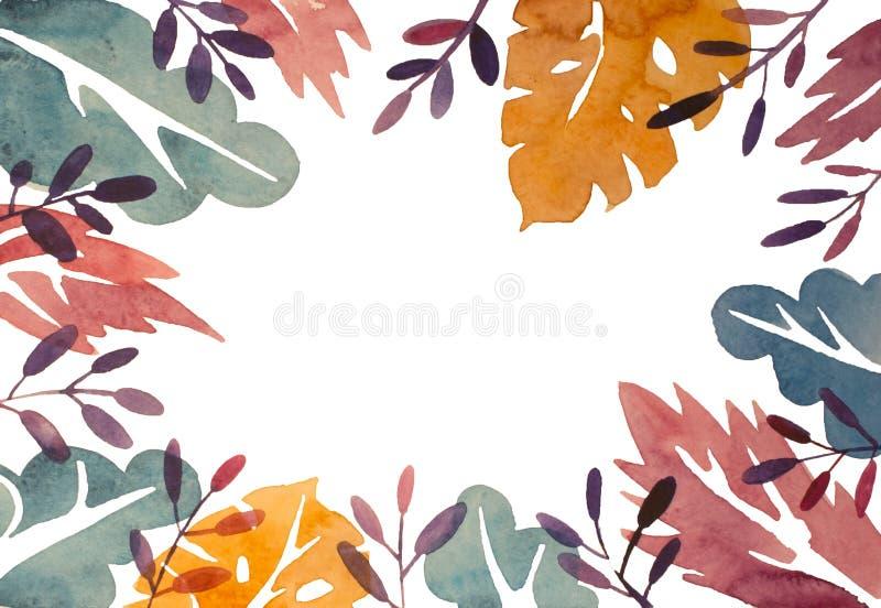Ram för vattenfärgabstrakt begreppsidor, färgrik blom- ram som isoleras på vit bakgrund stock illustrationer