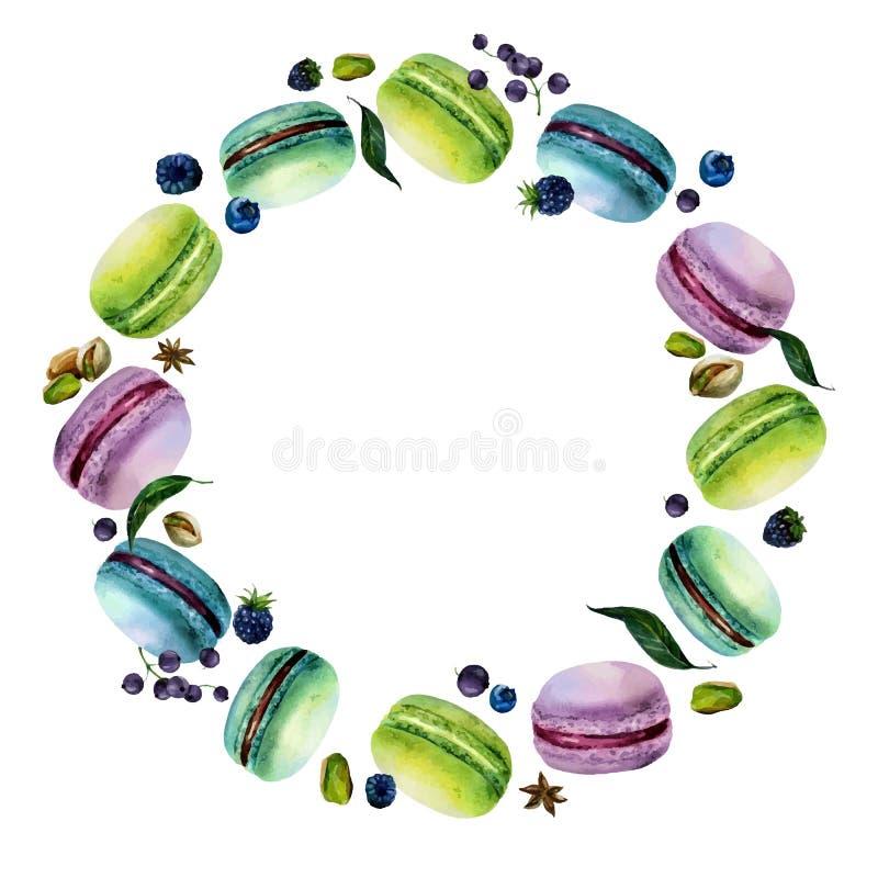 Ram för vattenfärgMacaron runda royaltyfri illustrationer