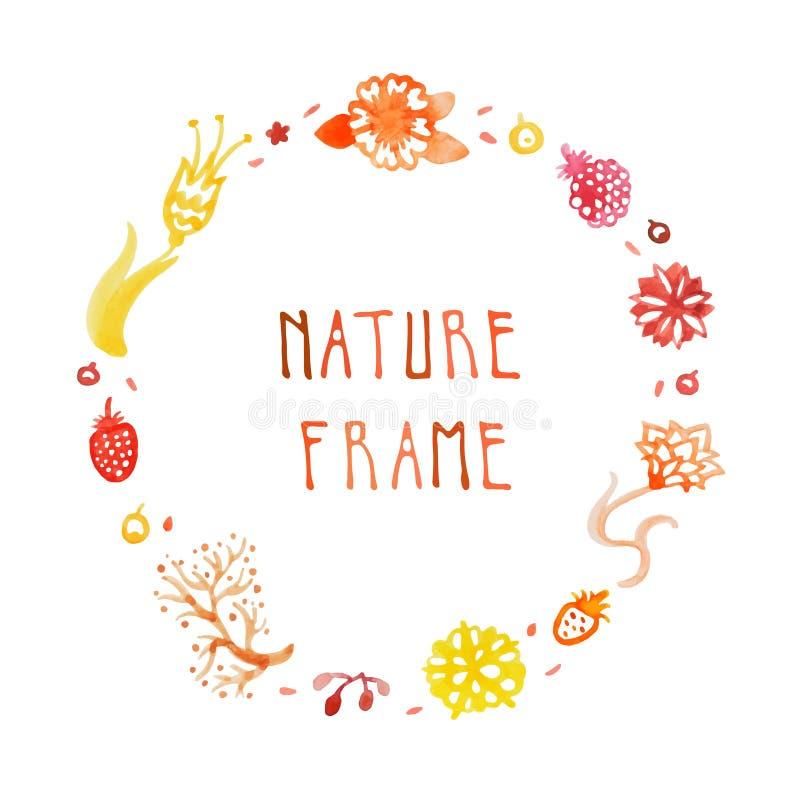 Ram för vattenfärgnaturvektor med handskriven text med blommor, bär och växter (apelsin, rött, guling) stock illustrationer