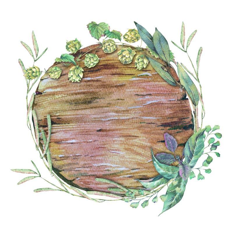 Ram för vattenfärgträrunda av gröna sidor stock illustrationer