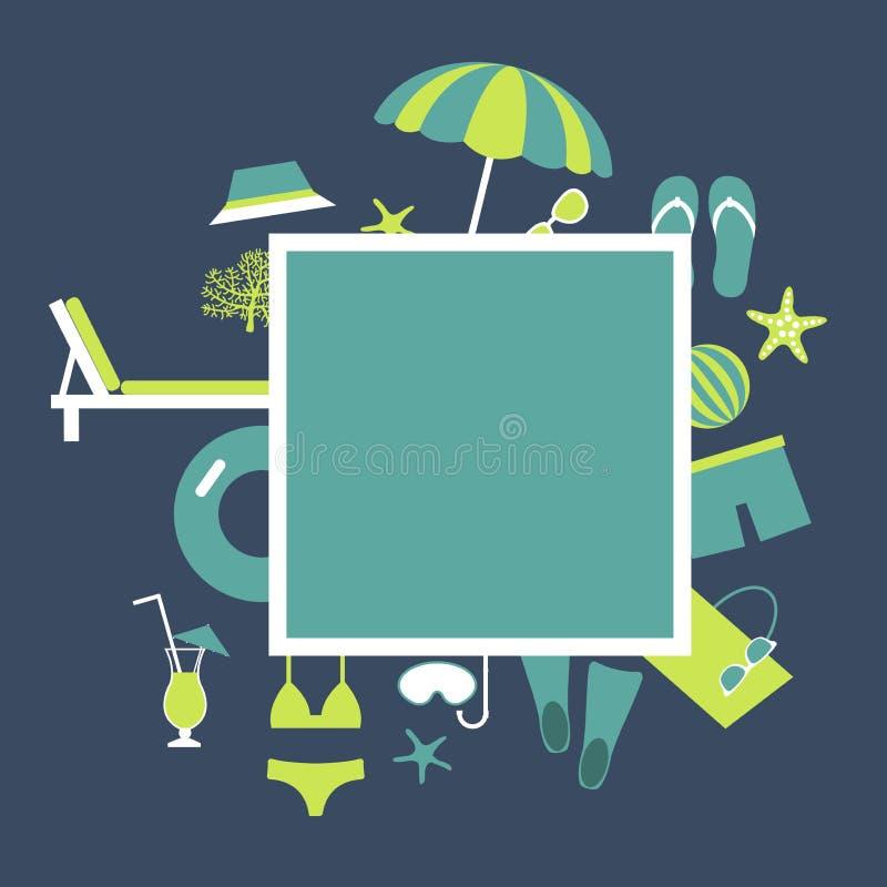 Ram för vektor för sommarsemester med strandparaplyet, sjöstjärna, flipmisslyckanden stock illustrationer