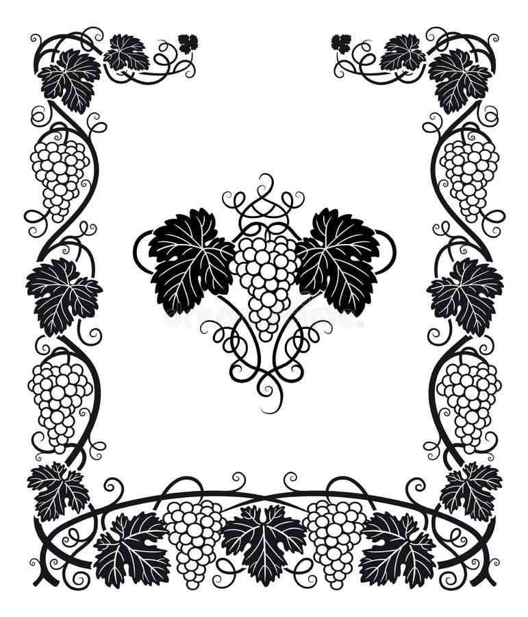 Ram för vinrankadruva- och sidavektor stock illustrationer