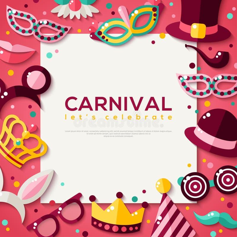 Ram för vit fyrkant med karnevalmaskeringar vektor illustrationer