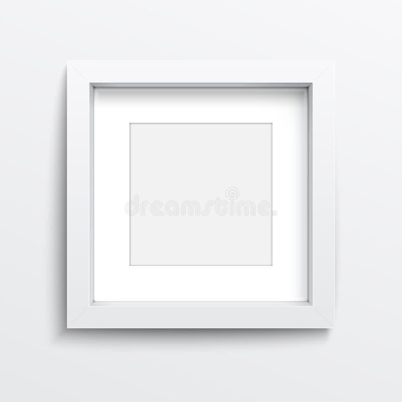 Ram för vit fyrkant på den gråa väggen. royaltyfri illustrationer