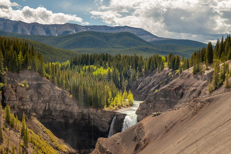 Ram Falls in the foothills of the Canadian Rocky Mountains stock photography
