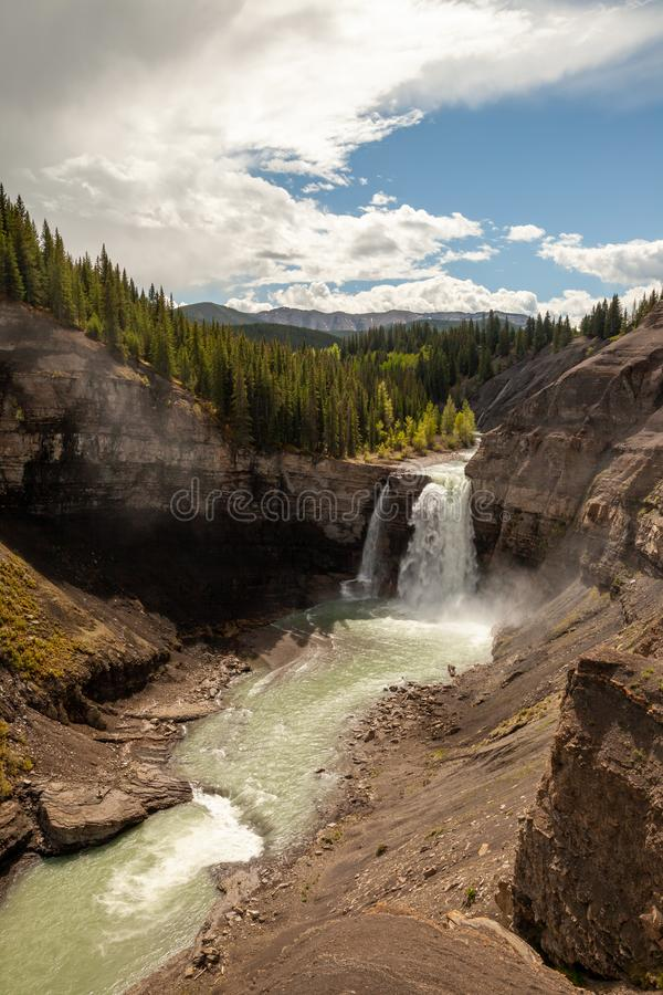 Ram Falls in the foothills of the Canadian Rocky Mountains royalty free stock photography