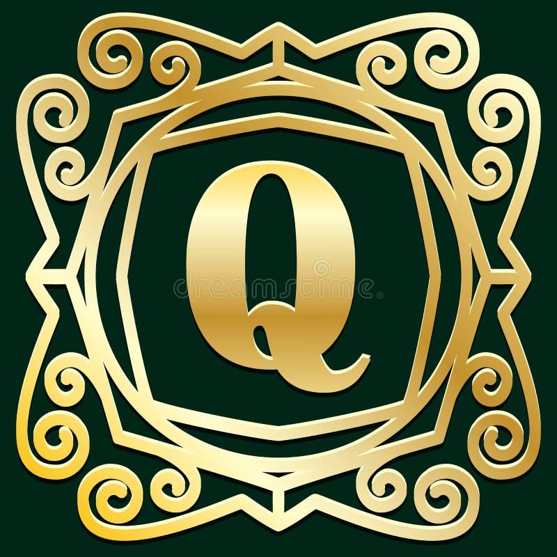 Ram, gräns, etikett för din logo, emblem eller vapen för lyxig antik för art déco guld- tappning för hipster minsta geometrisk li stock illustrationer
