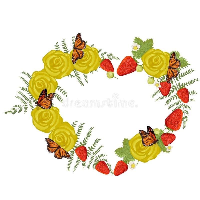 Ram i formen av en hjärta som göras av jordgubbar, rosor, ormbunkesidor och fjärilar Dekorativ beståndsdel som isoleras på vit stock illustrationer