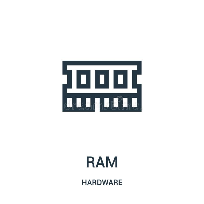 ram icon vector from hardware collection. Thin line ram outline icon vector illustration royalty free illustration