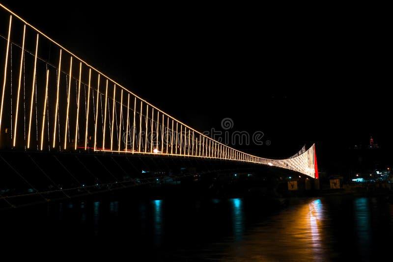 Ram JhulaSuspension桥梁在瑞诗凯诗,印度 库存图片
