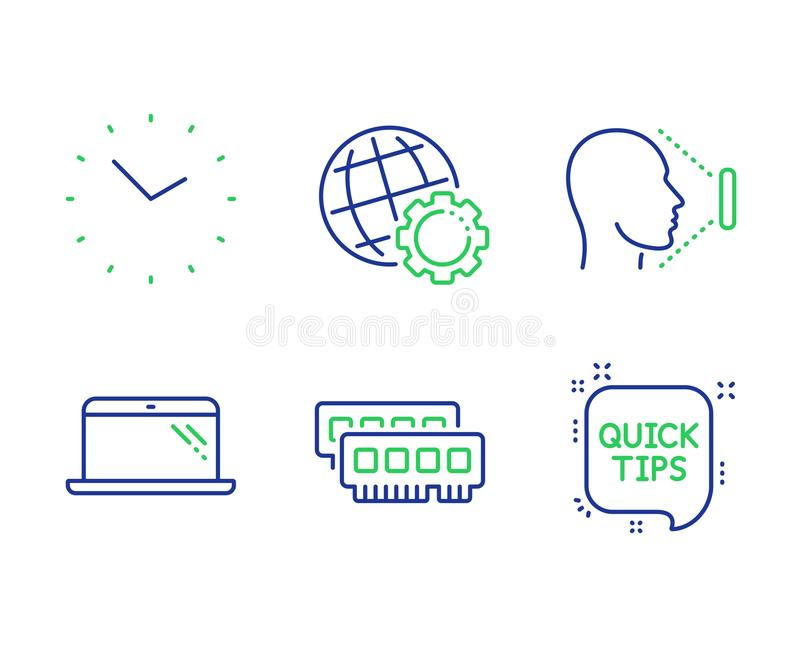 Ram, Laptop and Time icons set. Globe, Face id and Quick tips signs. Random-access memory, Computer, Clock. Vector. Ram, Laptop and Time line icons set. Globe stock illustration