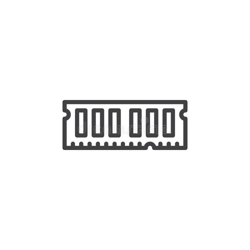RAM linje symbol, översiktsvektortecken, linjär stilpictogram som för minne för slumpmässigt tillträde isoleras på vit royaltyfri illustrationer