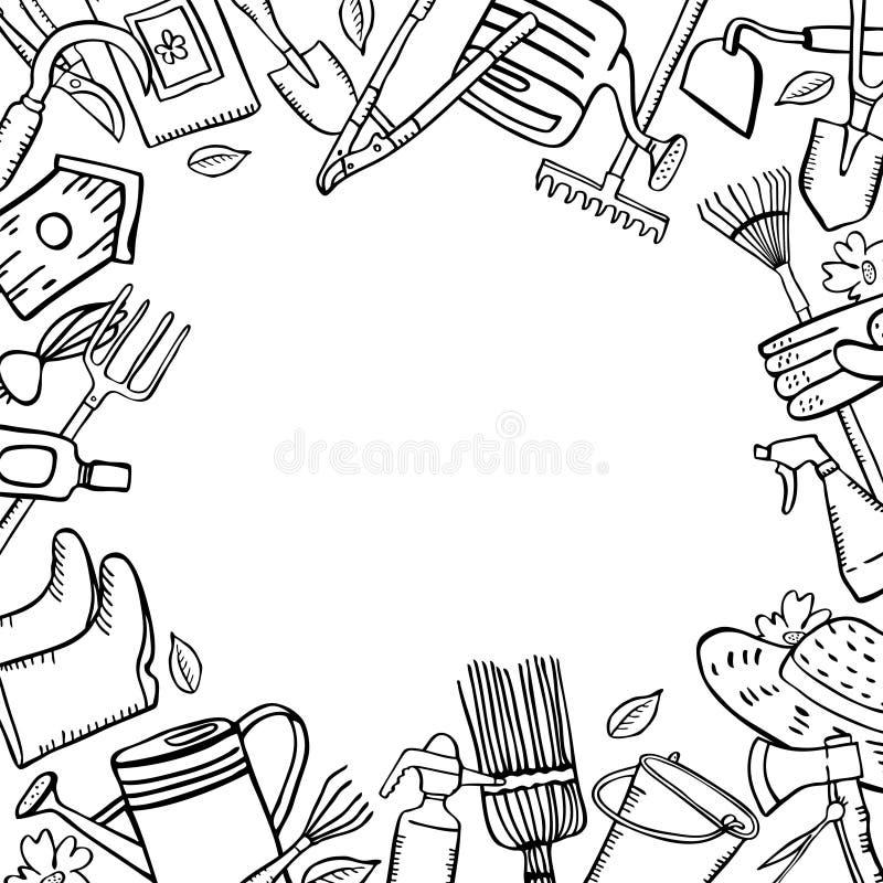 Ram med att arbeta i tr?dg?rden hj?lpmedel Skissar den utdragna ?versikten f?r vektorhanden illustrationen stock illustrationer