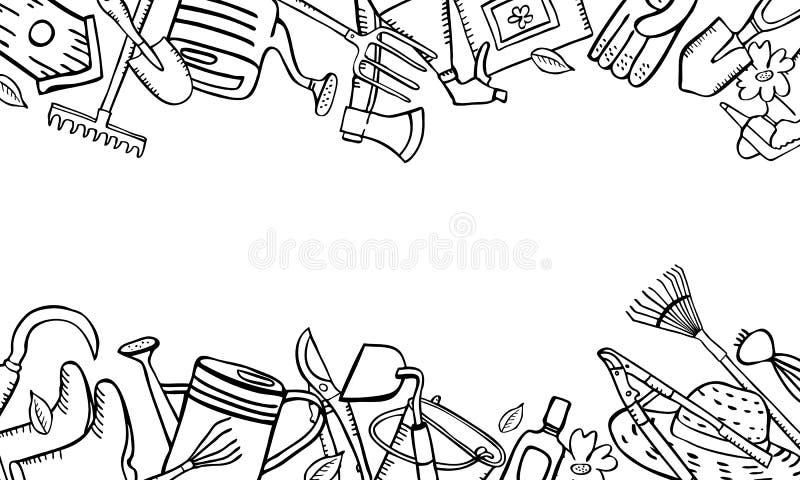 Ram med att arbeta i tr?dg?rden nedersta hj?lpmedel som ?r b?sta och Skissar den utdragna ?versikten f?r vektorhanden illustratio stock illustrationer