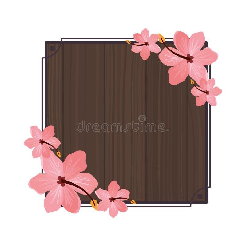 Ram med blomman av sommar på träbakgrund royaltyfri illustrationer