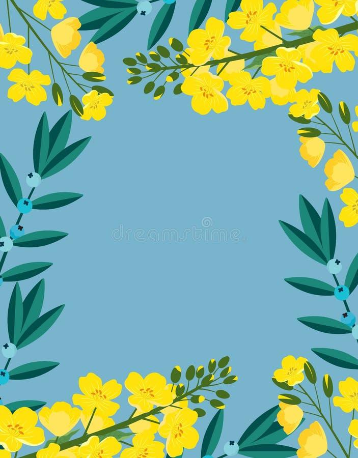 Ram med blommor av canola vektor illustrationer