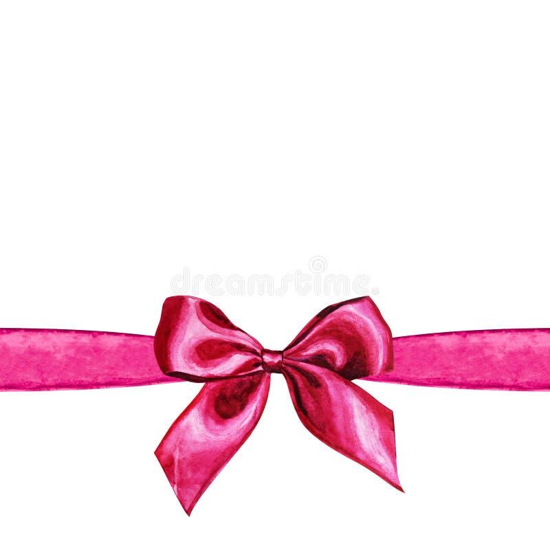 Ram med den rosa vattenfärgpilbågen för flygillustration för näbb dekorativ bild dess paper stycksvalavattenfärg stock illustrationer