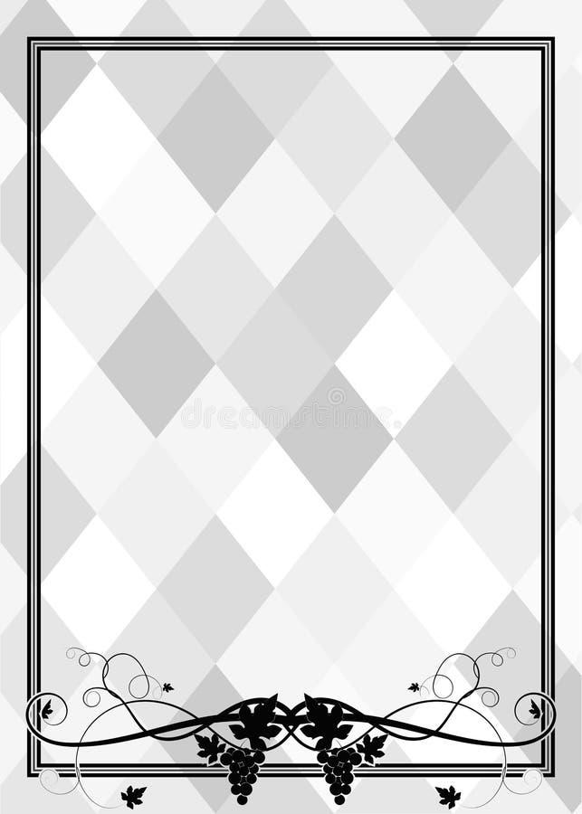 Ram med druvor på den gråa mosaiken för tryck stock illustrationer