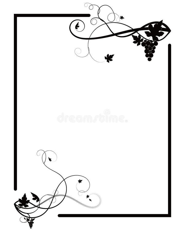 Ram med druvor på en vit bakgrund för tryck stock illustrationer