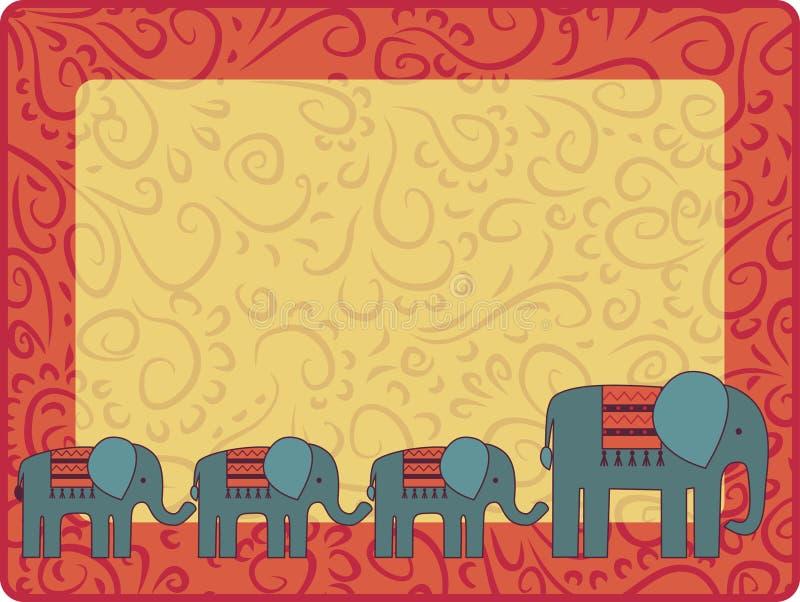 Ram med elefantfamiljen royaltyfri illustrationer