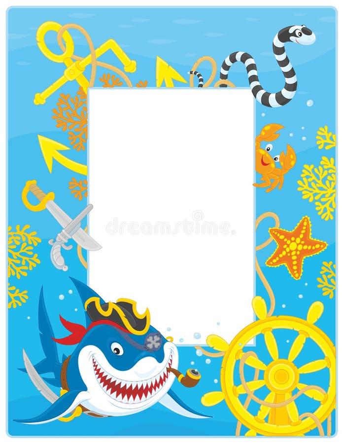 Ram med en piratkopierahaj stock illustrationer