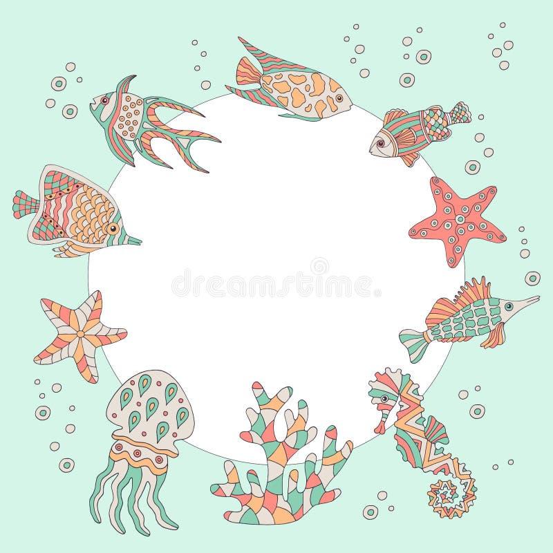 Ram med en uppsättning av den abstrakta havsfisken royaltyfri illustrationer