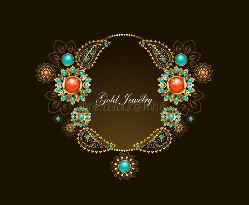 Ram med etniska guld- smycken royaltyfri illustrationer