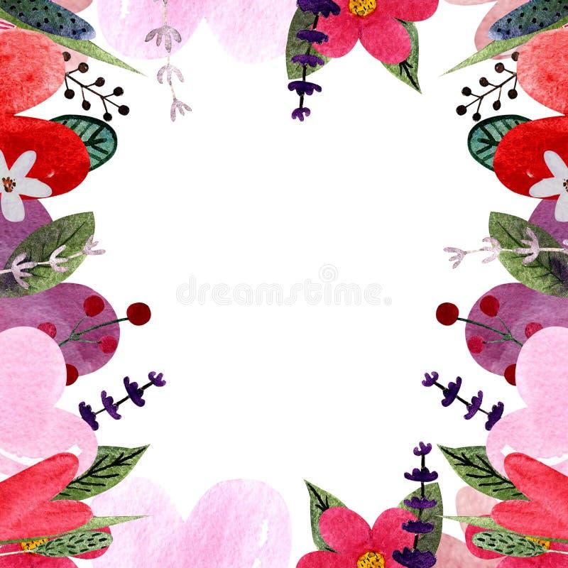 Ram med hjärtor, sidor, blommor, örter Vattenfärgillustration för valentin dag stock illustrationer