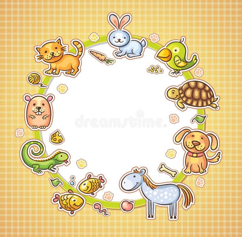 Ram med husdjur och deras mat royaltyfri illustrationer