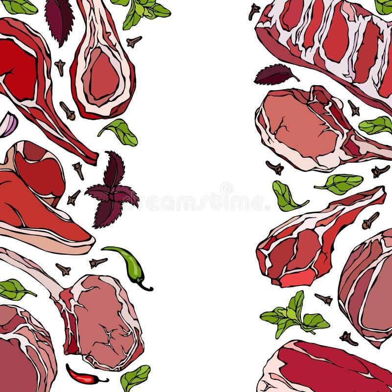 Ram med köttprodukter Restaurangmeny eller slaktare Shop Template Nötköttbiff, lamm, grisköttstöd också vektor för coreldrawillus royaltyfri illustrationer