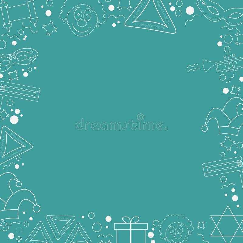 Ram med linjen symboler för design för purimferielägenhet den vita tunna royaltyfri illustrationer