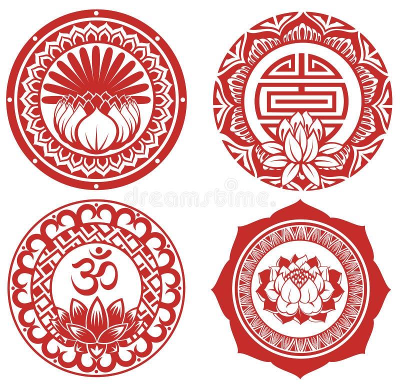 Ram med lotusblomma vektor illustrationer