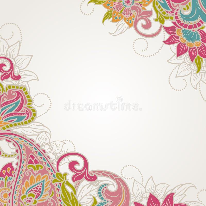 Ram med paisley royaltyfri illustrationer