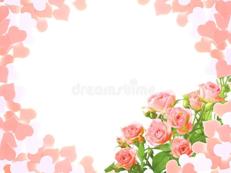 Ram med rosor och form av hjärtor royaltyfri fotografi
