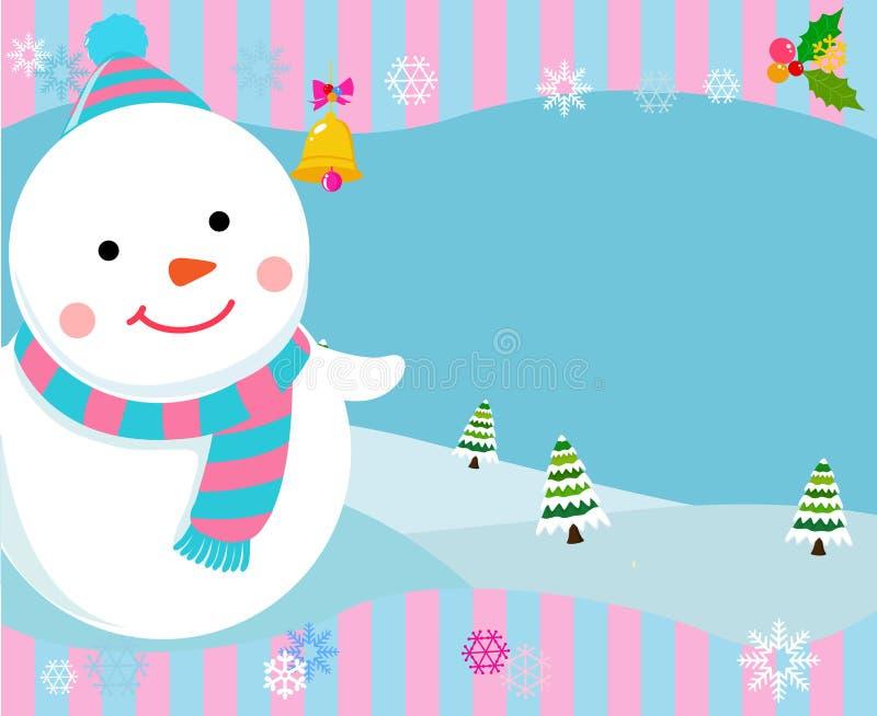 Ram med snowmanen royaltyfri illustrationer