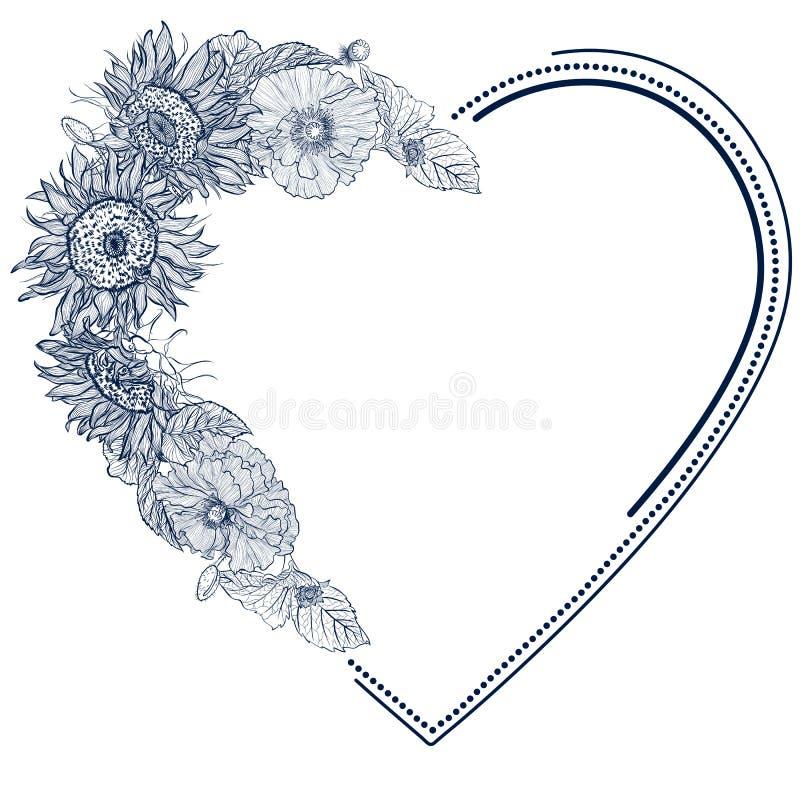 Ram med solrosor i formen av hjärta stock illustrationer