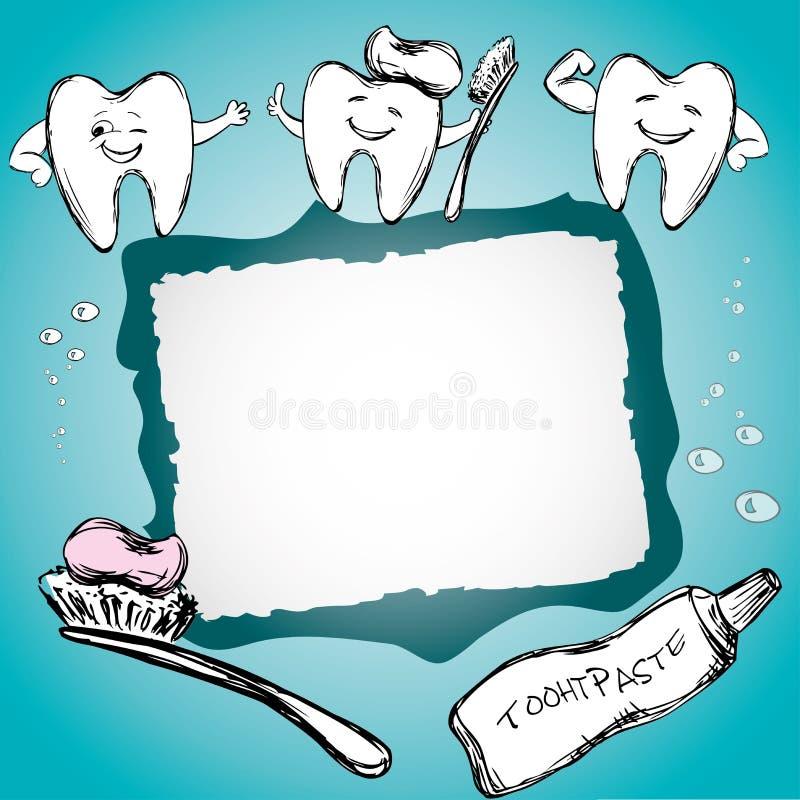 Ram med sunda tänder, tandkräm, tandborste stock illustrationer