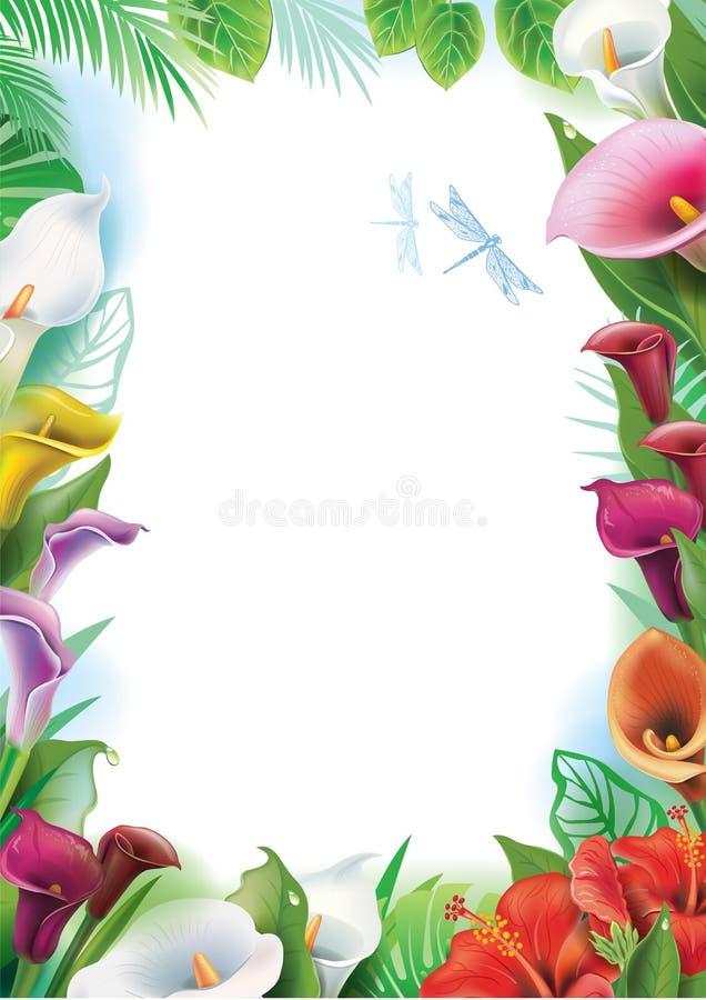 Ram med tropiska blommor royaltyfri illustrationer