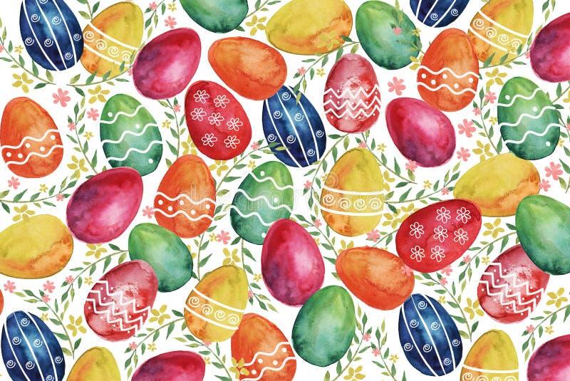 Ram med vit och rosa bakgrund för vattenfärglilysEastervattenfärg med färgrika påskägg och vårväxter vektor illustrationer