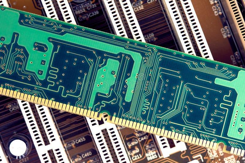 RAM Memory Stick On Motherboard. Closeup royalty free stock photos