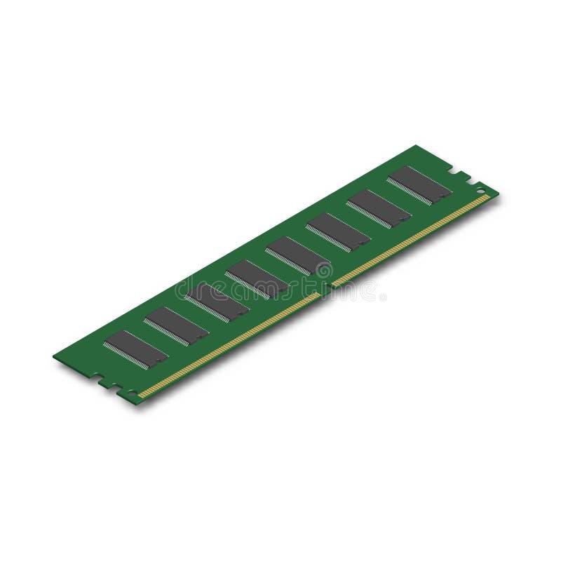RAM-module in 3D, vectorillustratie stock illustratie