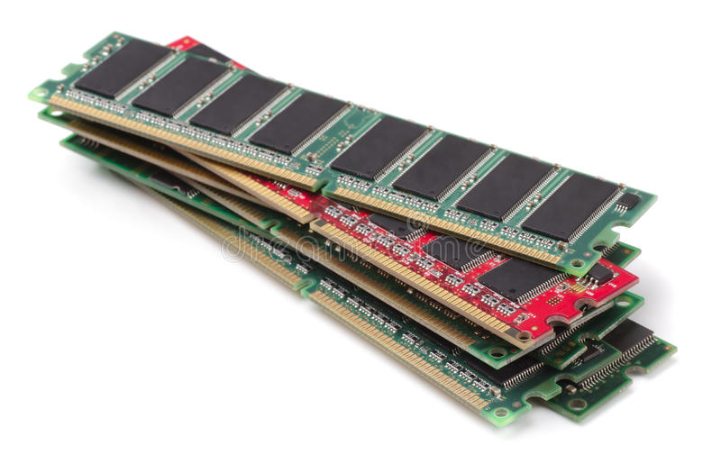 RAM modules. Stack of various RAM modules isolated on white royalty free stock photography