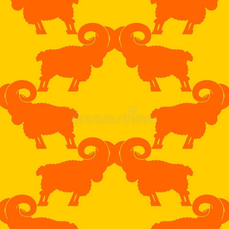 Ram pattern. flock of sheep ornament. Farm Animal Background.  royalty free illustration