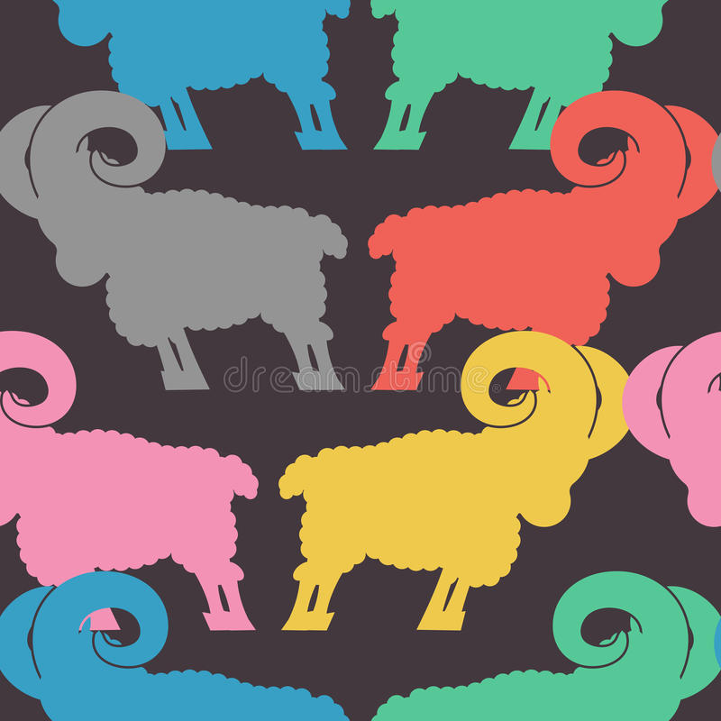 Ram pattern. flock of sheep ornament. Farm Animal Background.  stock illustration